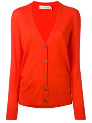 Tory Burch V Neck Cardigan Red