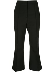Rochas Cropped Flared Trousers Black
