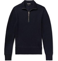 Tom Ford Slim Fit Ribbed Merino Wool And Cashmere Blend Half Zip Sweater Navy