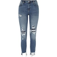 River Island Womens Blue Alannah Ripped Relaxed Skinny Fit Jeans