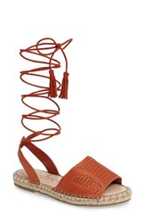 Sole Society Women's Clover Ankle Wrap Espadrille Sandal Paprika Leather