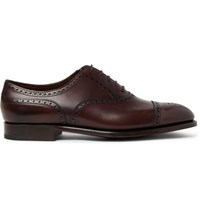 Edward Green Cadogan Burnished Leather Brogues Dark Brown
