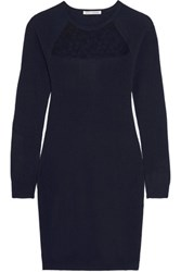 Autumn Cashmere Corded Lace Paneled Mini Dress Storm Blue