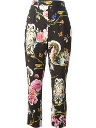 Dolce And Gabbana Floral Animal Print Trousers Black