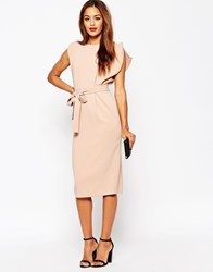 Asos Belted Midi Dress With Split Cap Sleeve And Pencil Skirt Pink