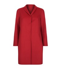 Max Mara Single Breasted Double Face Wool Angora Coat Female Red