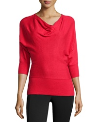 Neiman Marcus Drape Neck Knit Sweater High Red