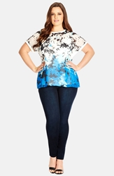 City Chic 'Daisy Blues' Zip Back Top Plus Size Cobalt
