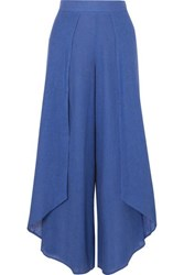 Vix Swimwear Edna Layered Linen Blend Voile Wide Leg Pants Royal Blue