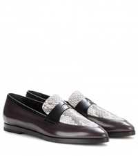 Tod's Snakeskin And Leather Loafers Black