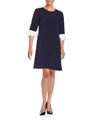 Helene Berman Ruffle Cuff Shift Dress Navy