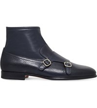 Santoni Carlos Leather Monk Strap Ankle Boots Blue