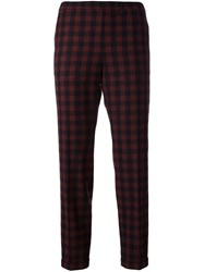 Alberto Biani Checked Crop Trousers Black