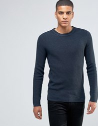 Selected Homme Ribbed Crew Neck Jumper Blueberry