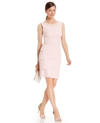 Connected Pearl Embellished Tiered Dress Pink