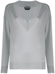 Tom Ford V Neck Knitted Sweater Grey
