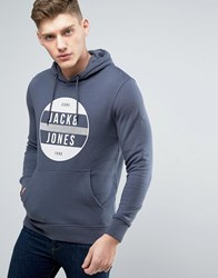 Jack And Jones Core Hoodie With Graphic Print Ombre Blue Navy
