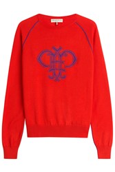 Emilio Pucci Intarsia Knit Wool Pullover Red
