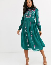 Frock And Frill Long Sleeve High Neck Embroidered Midi Dress Green