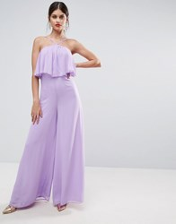 Asos Jumpsuit In Crinkle With Wide Leg And Halter Neck Lilac Purple