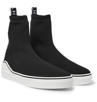 Givenchy George V Logo Jacquard Stretch Knit High Top Sneakers Black