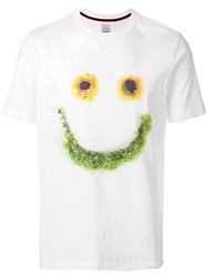 Paul Smith Floral Happy Face T Shirt White