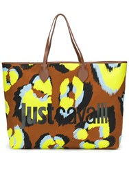 Just Cavalli Oversized Logo Tote Bag Brown