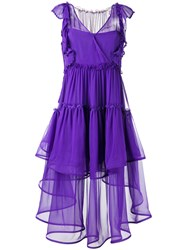Alberta Ferretti Layered Sheer Dress Women Silk 38 Pink Purple