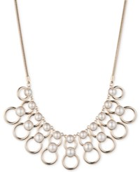 Dkny Gold Tone Imitation Pearl Ring Statement Necklace Created For Macy's White