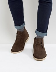 Asos Desert Boots In Brown Faux Suede Brown