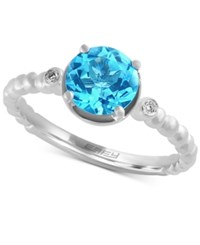 Effy Collection Effy Blue Topaz 1 5 8 Ct. T.W. And Diamond Accent Solitaire Ring In 14K White Gold