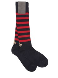 Gucci Gold Bee Striped Ribbed Cotton Socks