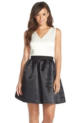 Women's Cece By Cynthia Steffe 'Sharon' Colorblock Satin Fit And Flare Dress
