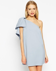 Asos Shift Dress With Bow One Shoulder Paleblue