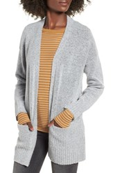 Dreamers By Debut Rib Edged Open Cardigan Grey
