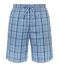 Derek Rose Barker Pipe Check Lounge Shorts Male Blue