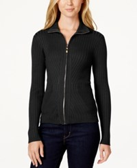 Xoxo Juniors' Zip Front Mock Neck Sweater Black