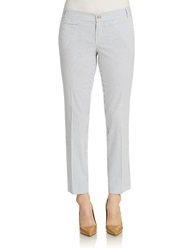 Lord And Taylor Petite Kelly Seersucker Cropped Ankle Pants Ultramarine
