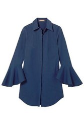 Michael Kors Collection Woman Oversized Stretch Cotton Poplin Shirt Indigo