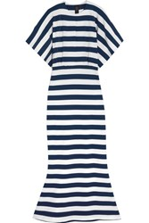 Norma Kamali Obie Striped Stretch Cotton Jersey Maxi Dress Navy