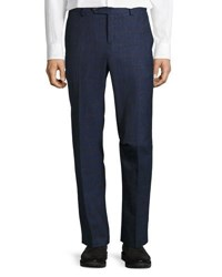 Brunello Cucinelli Check Print Flat Front Trousers Blue Barley