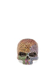 Lynn Ban Sapphire And Rhodium Plated Skull Ring Multi