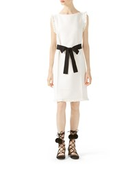 Gucci Wool Silk Belted Dress White
