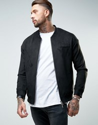 Religion Faux Suede Bomber Jacket Black