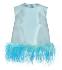 Prada Sleeveless Wool And Silk Top Blue