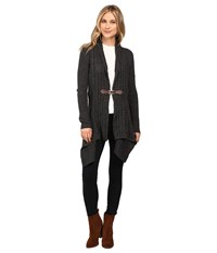 Christin Michaels Brilliant Cut Buckle Cardigan Charcoal Heather Women's Sweater Gray