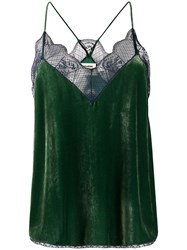 Zadig And Voltaire Christy Velvet Camisole Green
