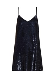 Ashish Sequin Embellished Silk Georgette Mini Dress Navy