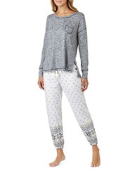 Kensie Heathered Top And Jogger Pajama Pants Set Beige