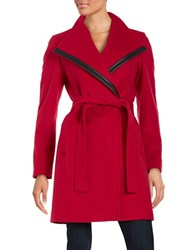 Calvin Klein Faux Leather Trimmed Wool Blend Coat Red